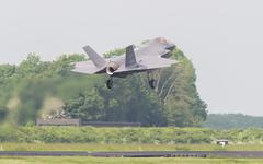LEEUWARDEN, THE NETHERLANDS -MAY 26: F-35 fighter during it's first test in E - stock photo