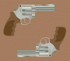 Pistol handgun gun isolated revolver with wood background Stock Illustration
