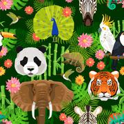 Animals Seamless Pattern - stock illustration