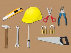 Home tools renovation work construction vector Stock Illustration