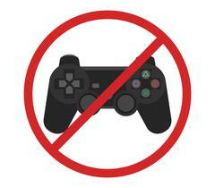video game console ban joystick symbol vector - stock illustration