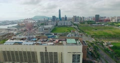 Aerial view of the city in Kaohsiung Stock Footage