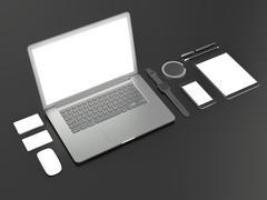 Grey branding mockup. Template set on black background. 3d rendering. 3D illu - stock illustration