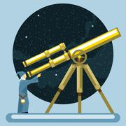 Ancient mag looking into a telescope and pointing with hand, observing stars. - stock illustration