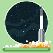 Rocket missile at launch with fire and smoke and space view. Stock Illustration