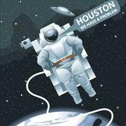 Astronaut in spacesuit flying in space and calling for Houston. - stock illustration