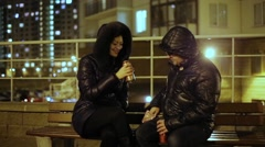 Man And Woman Drinking Beer With Chips Stock Footage