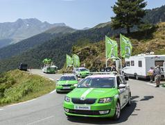Col D'Aspin,France- July 15,2015: Skoda Caravan - Tour de France 2015 - stock photo