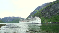 Large passenger ship port in fjord Stock Footage