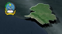 Cuanza Sul with Coat of arms animation map Stock Footage
