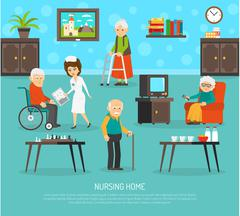 Old People Nursing Home Flat Poster Stock Illustration