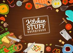 Cooking Background With Kitchen Stuff - stock illustration