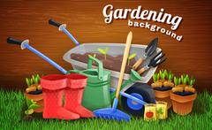 Colorful Gardening Background With Farm Tools - stock illustration
