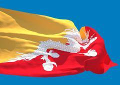 Bhutan wave flag HD - stock illustration