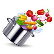 Fresh Vegetable In Metal Pan Stock Illustration