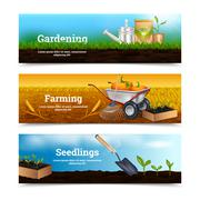 Three Gardening Horizontal Banners - stock illustration