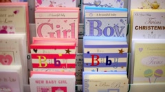 Birthday cards on stand Stock Footage