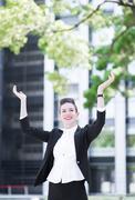 Modern business woman feel happy Stock Photos
