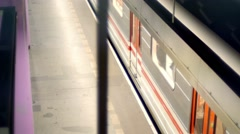 Training leaving station plague Stock Footage