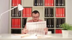 Man Reading Russian Newspaper Pravda Stock Footage