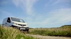 White transit van country side Stock Footage