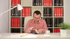 Man Wrote In His Diary Stock Footage