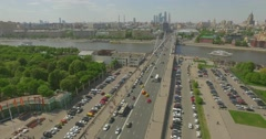 Aerial view of Gorky Park in Moscow Stock Footage