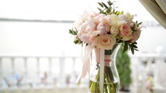 Wedding bouquet in a vase, Wedding attributes - stock footage