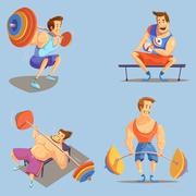Gym Cartoon Icons Set - stock illustration