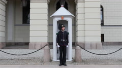 Norwegian Guard Stands at Attention - Royal Palace - Oslo Norway Stock Footage