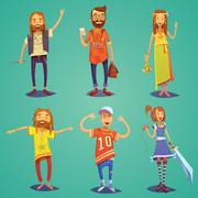 Subculture Hipster People Cartoon Figures Set - stock illustration