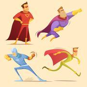 Superhero Cartoon Set - stock illustration
