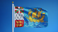 Saint-Pierre and Miquelon flag in slow motion seamlessly looped with alpha Stock Footage