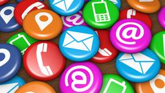 Contact Us Web Icons On Badges - stock illustration