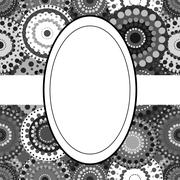 Patterned frame background invitation circular ornament grey bla - stock illustration