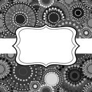 Patterned frame background invitation circular ornament grey bla Stock Illustration