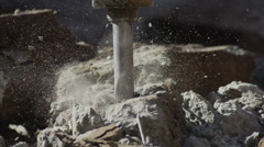 Demolition cement rock crushing explosion super slow motion Stock Footage