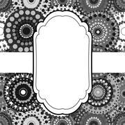 Patterned frame background invitation circular ornament grey bla - stock illustration