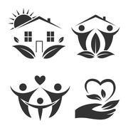 Green house logo set. Happy family icon, eco lover - stock illustration