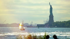 Statue liberty New York in present Stock Footage