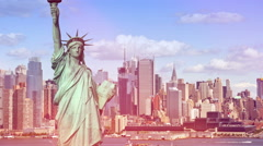 Photo tourism concept new york city with statue liberty Stock Footage