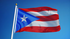Puerto Rico flag in slow motion seamlessly looped with alpha Stock Footage