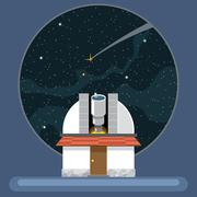 A new telescope with antennas and view to space and stars. Stock Illustration
