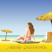 A girl with sun glasses and swimming suit at the beach and sea - stock illustration