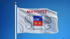 Mayotte flag in slow motion seamlessly looped with alpha Stock Footage