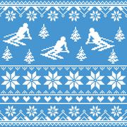 Winter knit pattern - man skiing on blue background - stock illustration