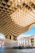 Metropol Parasol is a wooden structure located Plaza de la Encar - stock photo