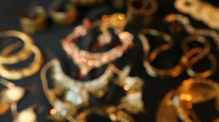 Beautiful Oriental Gold, Silver jewelry (Indian, Arab). Fashion Ethno Accesso Stock Footage