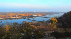Bridge over river Dnipro the Autumn Stock Footage