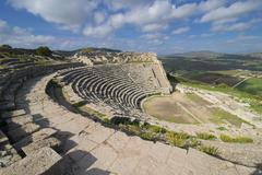 Roman theatre, Segesta, Sicily, Italy, Europe Stock Photos